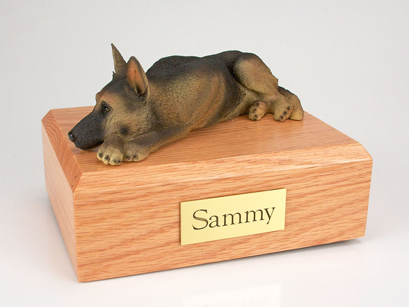 Dog, German Shepherd, Tan/Black - Figurine Urn