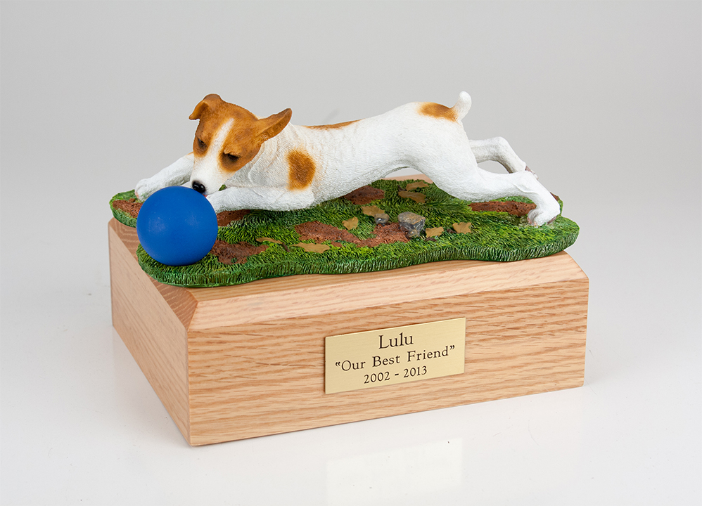 Dog, Jack Russell Terrier, Brn/White w/Ball - Figurine Urn
