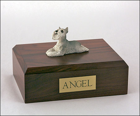 Dog, Schnauzer, Grey - Figurine Urn