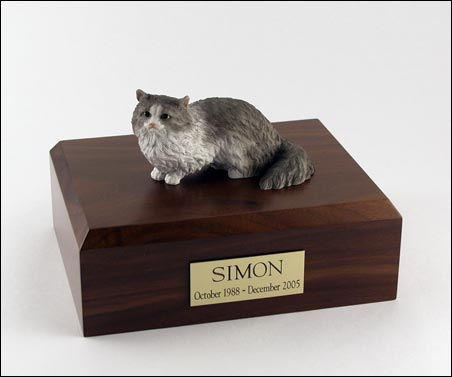 Cat, Angora, Gray - Figurine Urn
