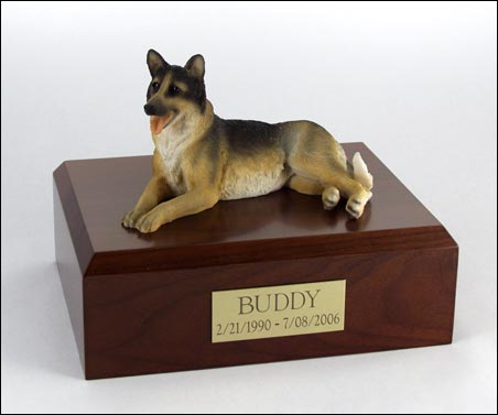 Dog, German Shepherd Laying - Figurine Urn