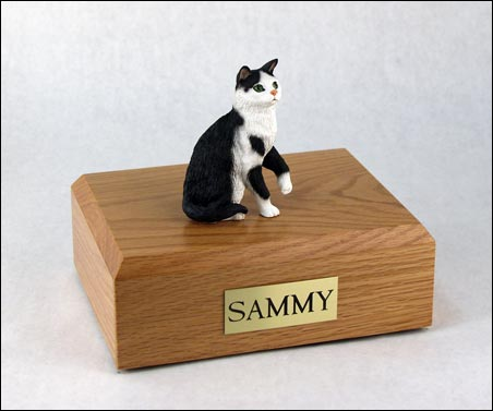 Cat, Black/White, Short hair Sitting - Figurine Urn