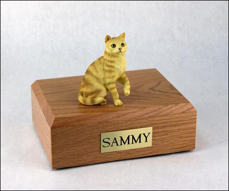 Cat, Tabby, Red, Shorthair Sitting - Figurine Urn
