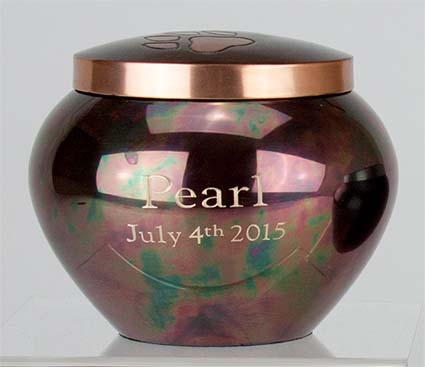 Paw Print Jar - Engraved - Raku- Large