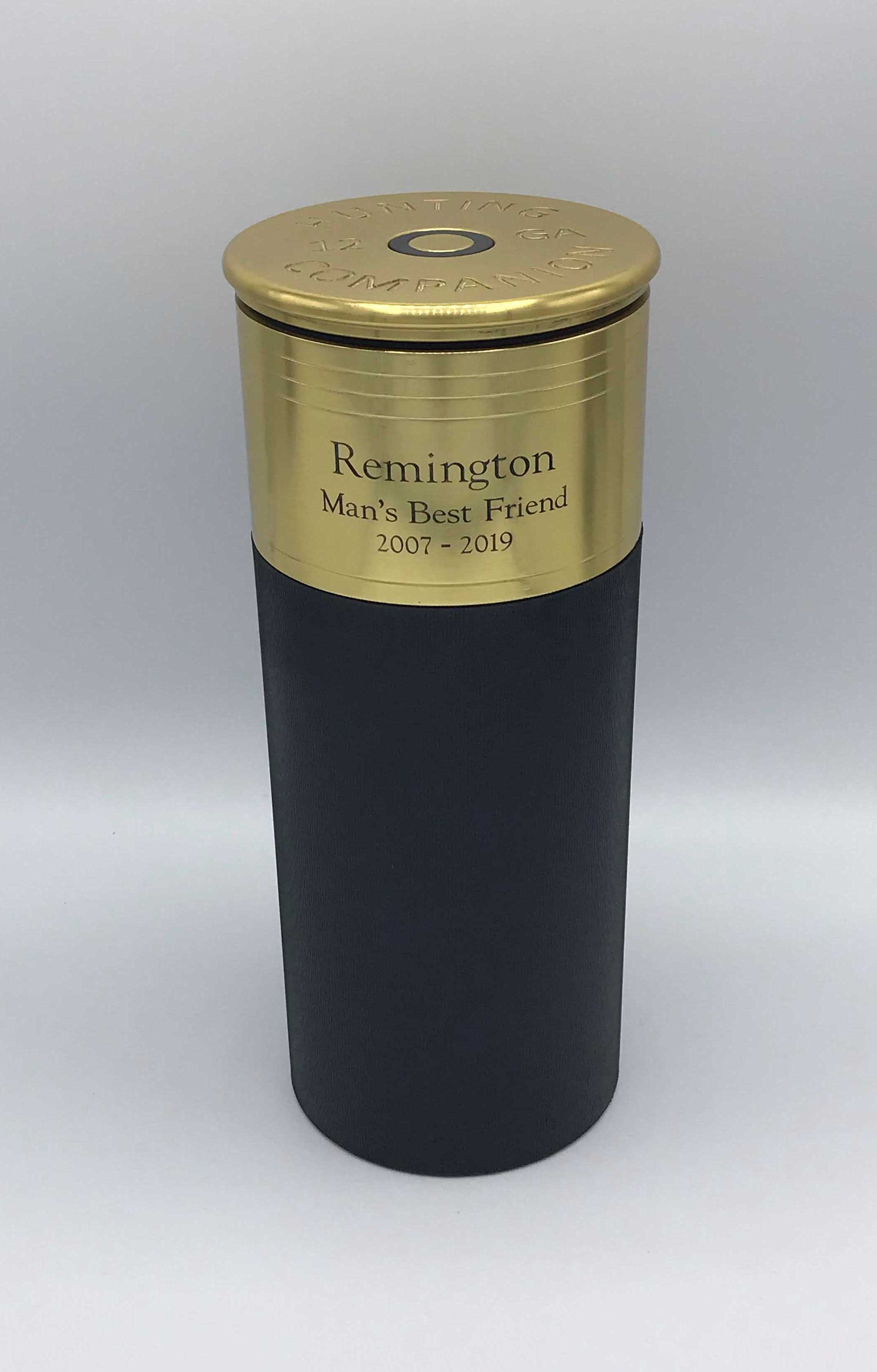 Engraved Shotgun Urn - Black