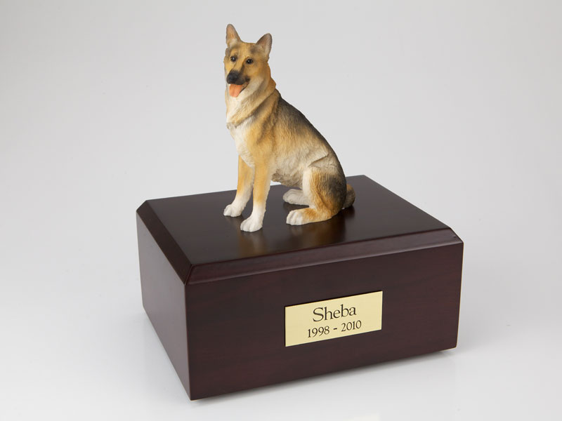 Dog, German Shepherd Sitting - Figurine Urn