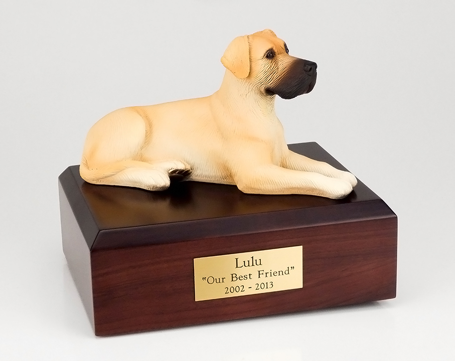 Dog, Great Dane, Fawn, ears down - Figurine Urn
