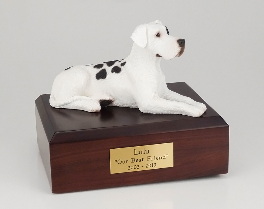 Dog, Great Dane, Harlequin - ears down - Figurine Urn