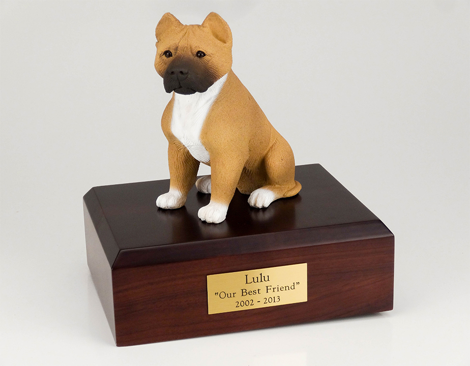 Dog, Pit Bull, Tan/White - Figurine Urn