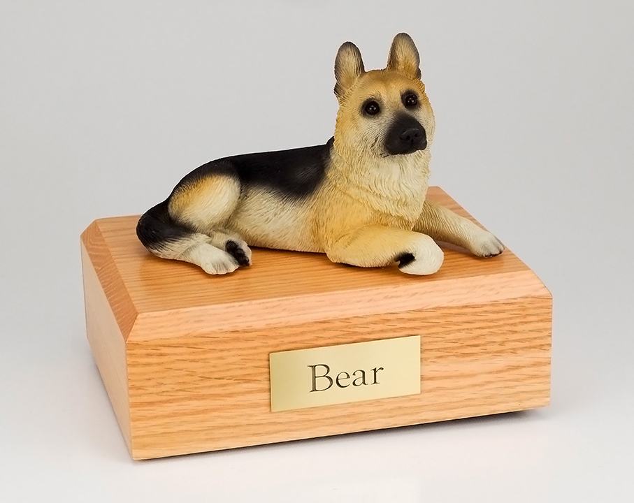 Dog, German Shepherd, Tan - Figurine Urn