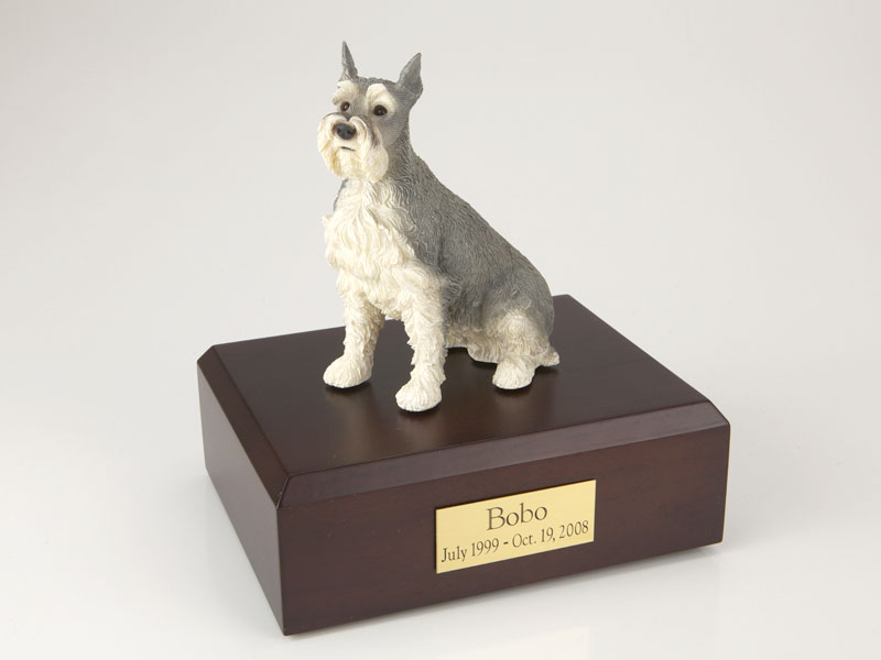 Dog, Schnauzer, Gray - ears up - Figurine Urn