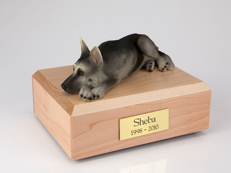 Dog, German Shepherd, Black/Silver - Figurine Urn