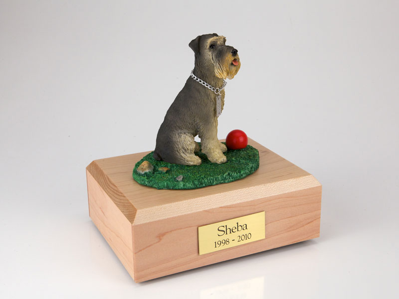 Dog, Schnauzer, Gray - ears down - Figurine Urn