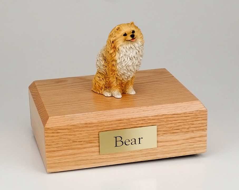 Dog, Pomeranian, Brown - Figurine Urn