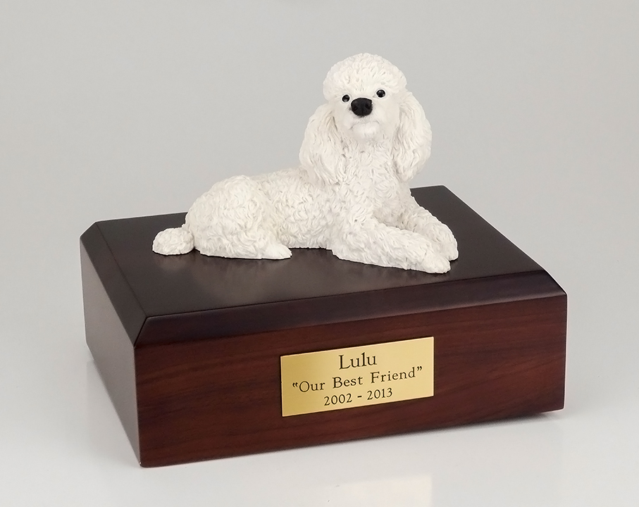 Dog, Poodle, White - Figurine Urn