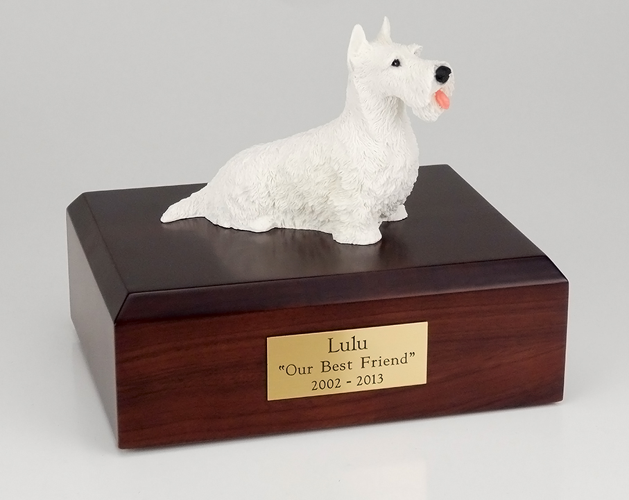 Dog, Scottish Terrier, White - Figurine Urn