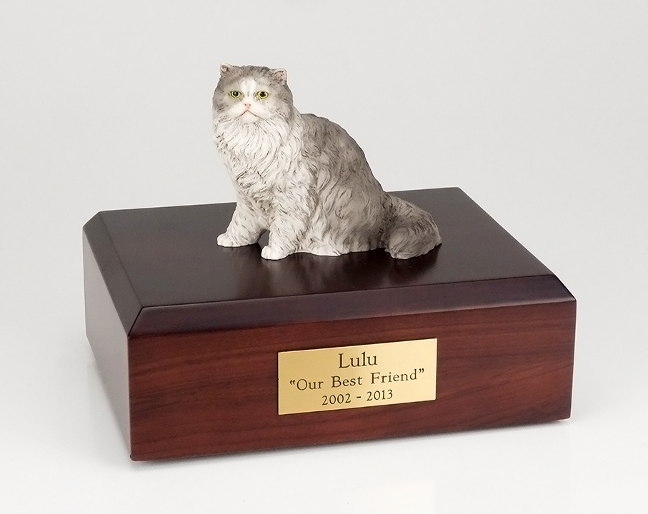 Cat, Persian, Grey - Figurine Urn