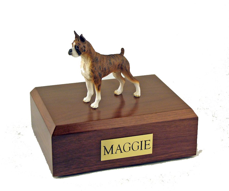 Dog, Boxer, Brindle - ears up - Figurine Urn