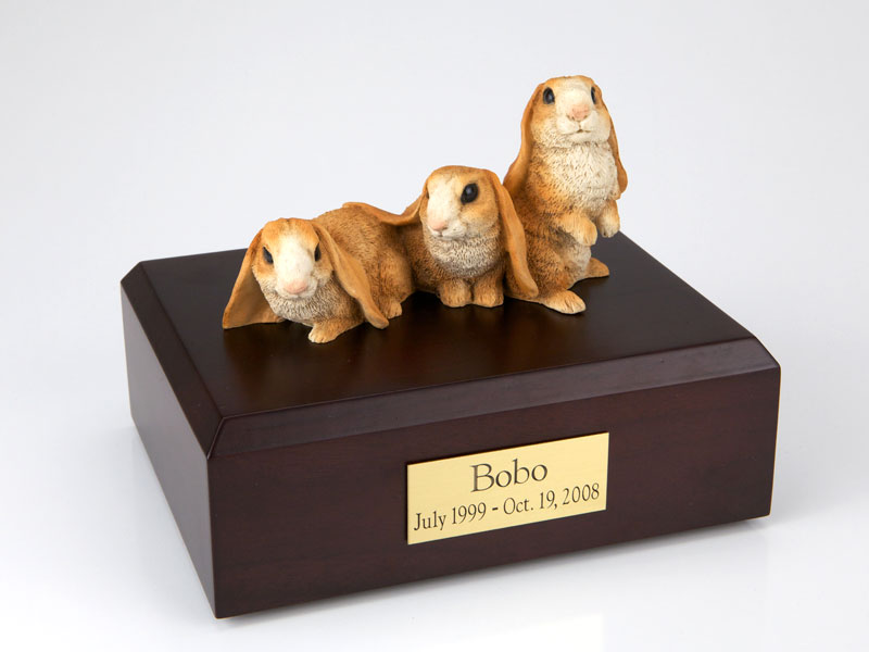 3 Brown Bunnies Side by Side - Figurine Urn