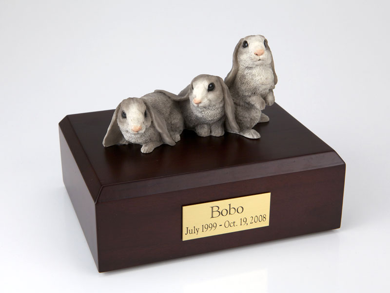3 Gray Bunnies Side by Side - Figurine Urn