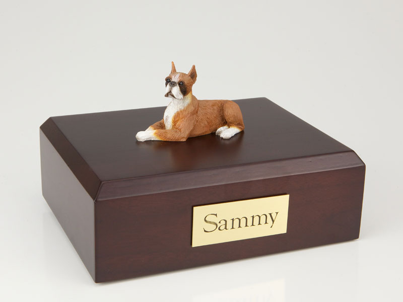 Dog, Boxer, Fawn - ears up - Figurine Urn