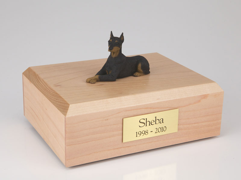 Dog, Doberman, Black - ears up - Figurine Urn