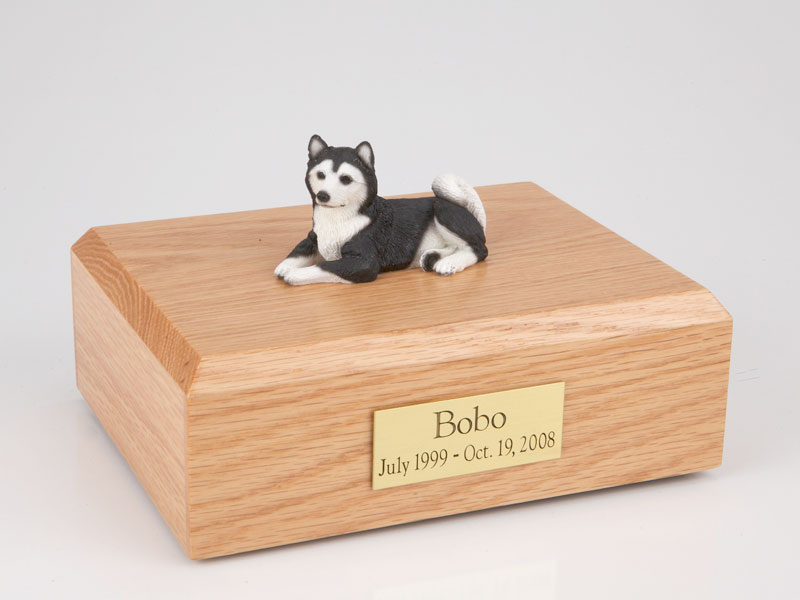 Dog, Husky, Black - Figurine Urn