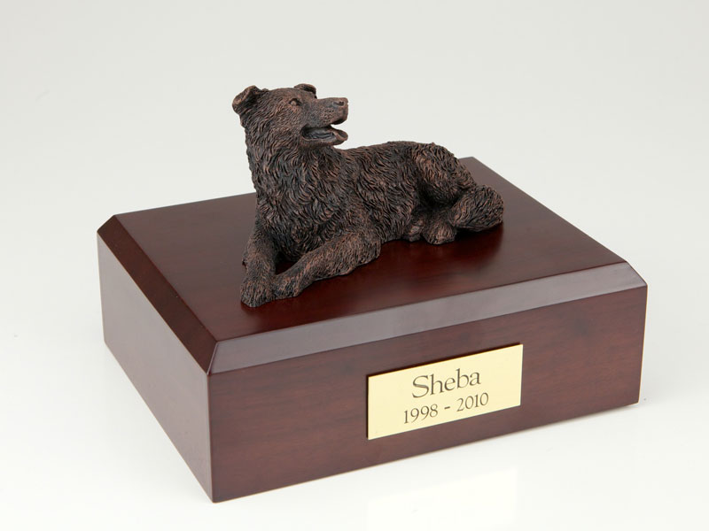 Dog, Border Collie, Bronze - Figurine Urn