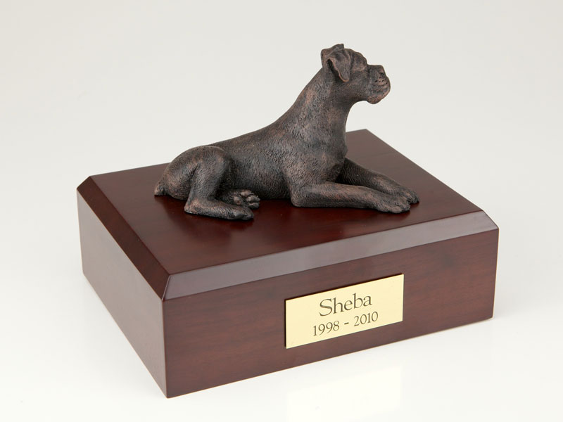Dog, Boxer, Bronze - ears down - Figurine Urn