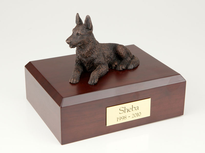 Dog, German Shepherd, Bronze - Figurine Urn