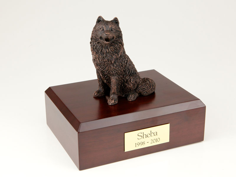 Dog, Samoyed, Bronze - Figurine Urn