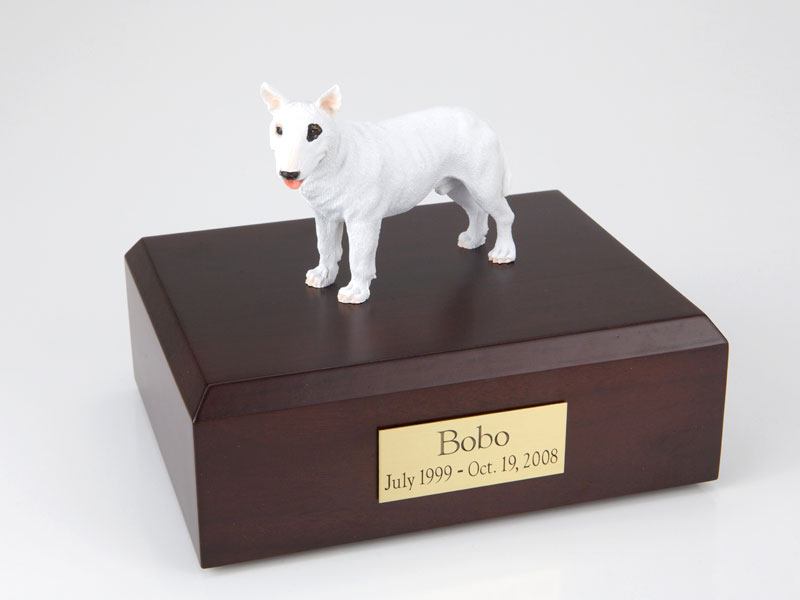 Dog, Bull Terrier, White - Figurine Urn