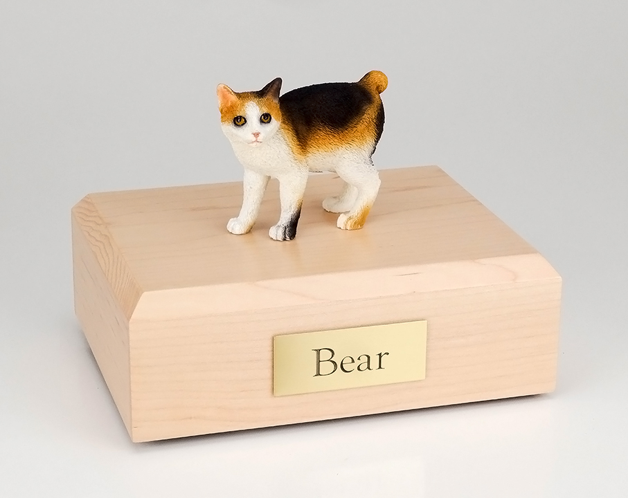 Cat, Japanese Bobtail, Tort/White - Figurine Urn