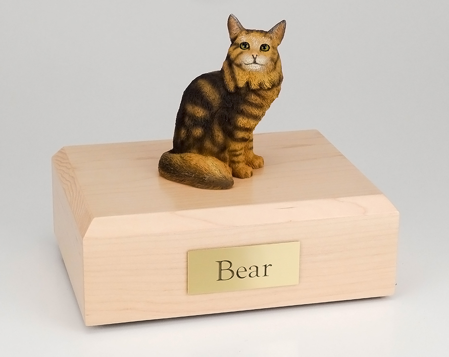 Cat, Maine Coon, Brown Tabby - Figurine Urn