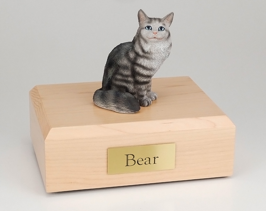 Cat, Maine Coon, Silver Tabby - Figurine Urn