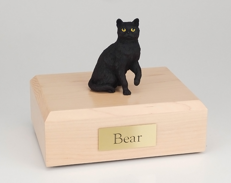 Cat, Black, Short Hair, Sitting - Figurine Urn