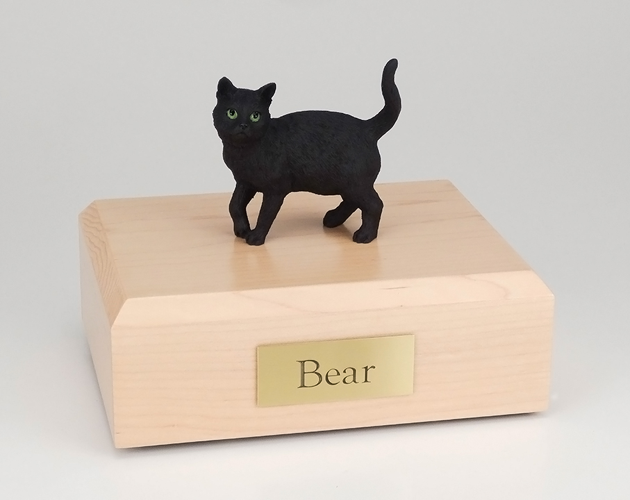 Cat, Black, Shorthair Standing - Figurine Urn