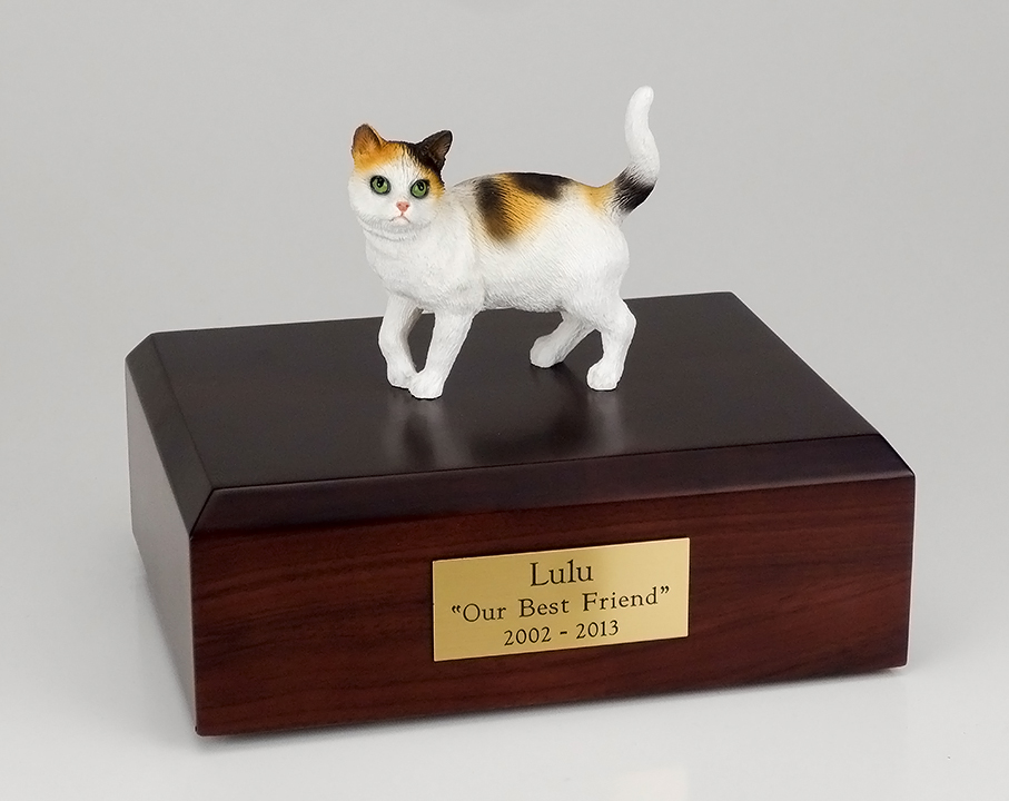 Cat, Tri-color - Figurine Urn