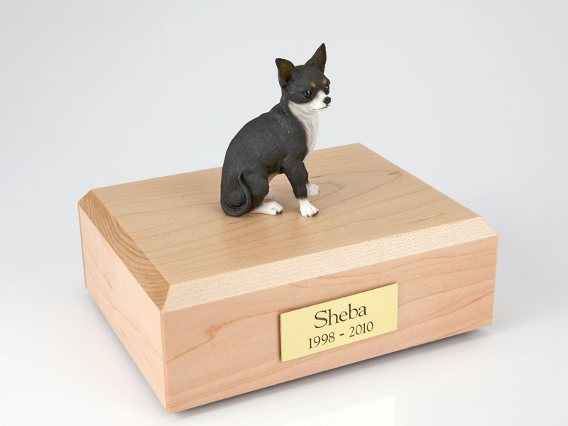 Dog, Chihuahua, Black/White - Figurine Urn