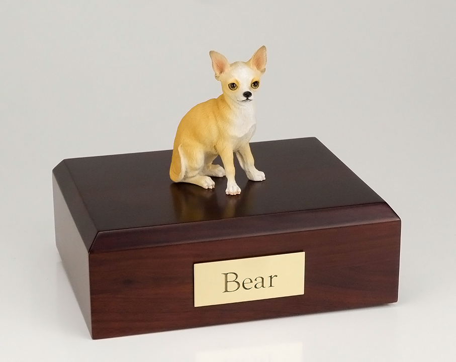 Dog, Chihuahua, White/Tan - Figurine Urn
