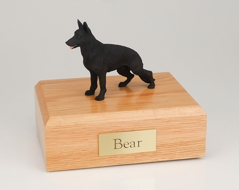 Dog, German Shepherd, Black - Figurine Urn