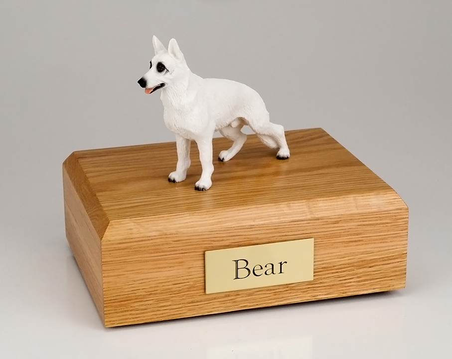 Dog, German Shepherd, White - Figurine Urn