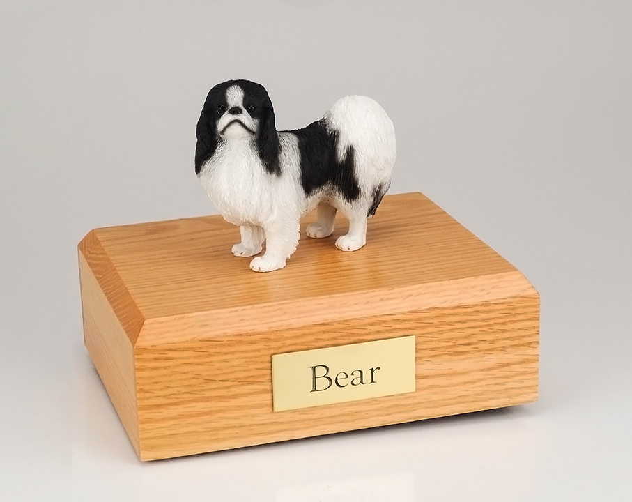 Dog, Japanese Chin, Black/White - Figurine Urn