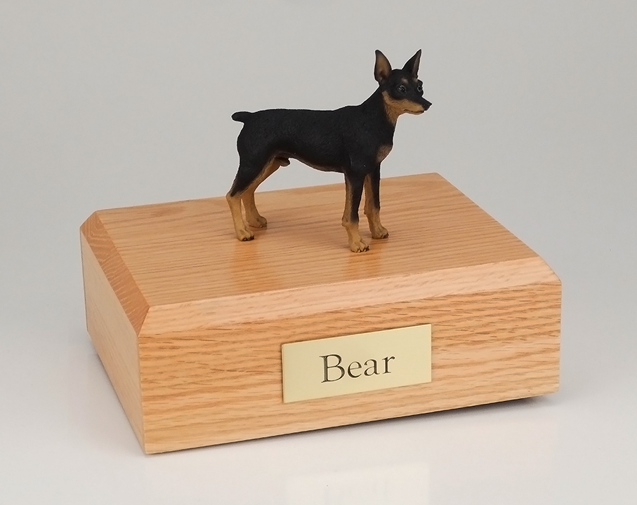 Dog, Miniature Pincher, Black/Tan - Figurine Urn