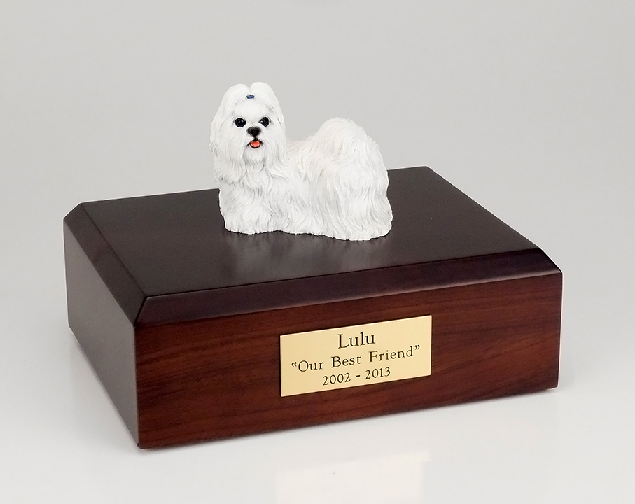 Dog, Shih Tzu, White - Figurine Urn