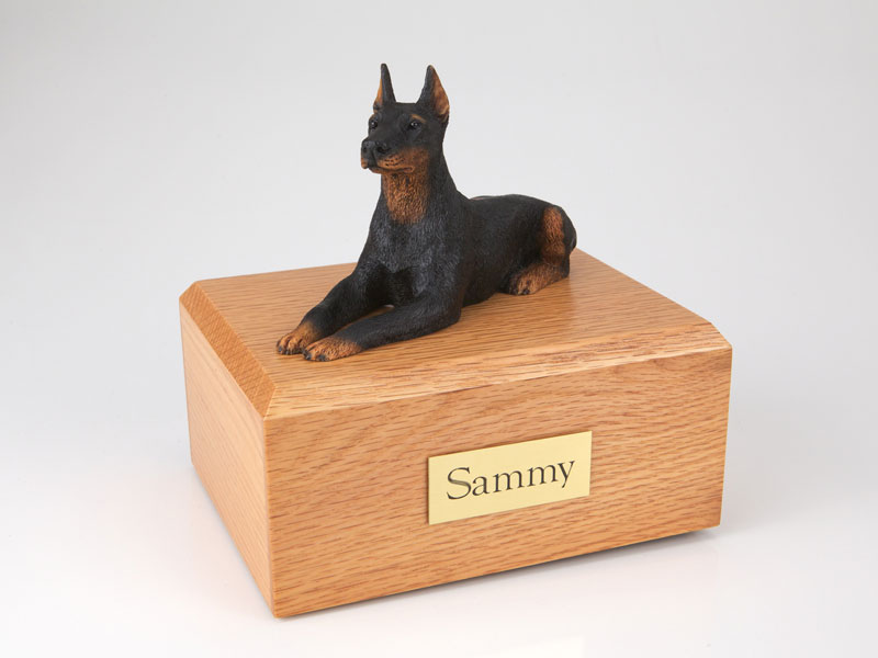 Dog, Doberman, Black Laying - Figurine Urn