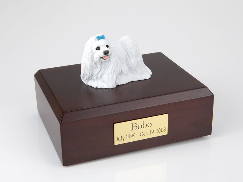 Dog, Maltese, blue ribbon - Figurine Urn
