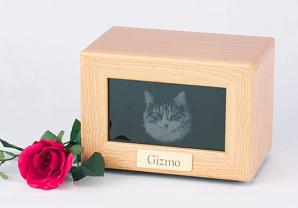 Framed Marble Photo Urn - Oak