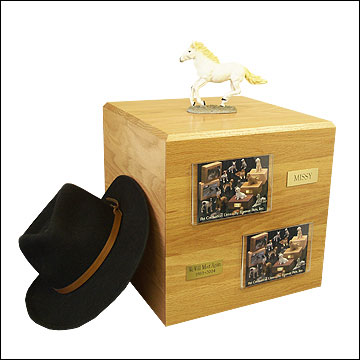 White, Running - Horse Cremation Urn